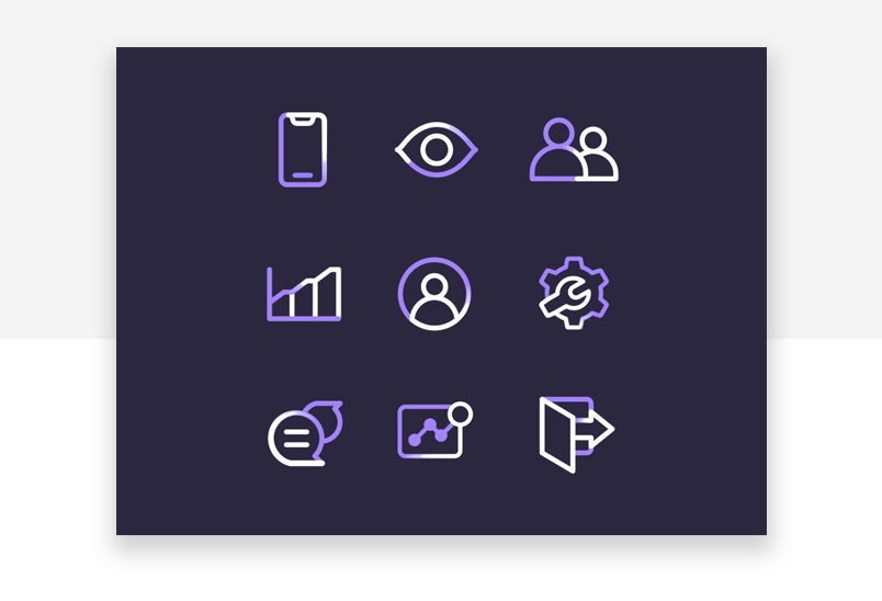 Interaction design consistency example - coherent icons