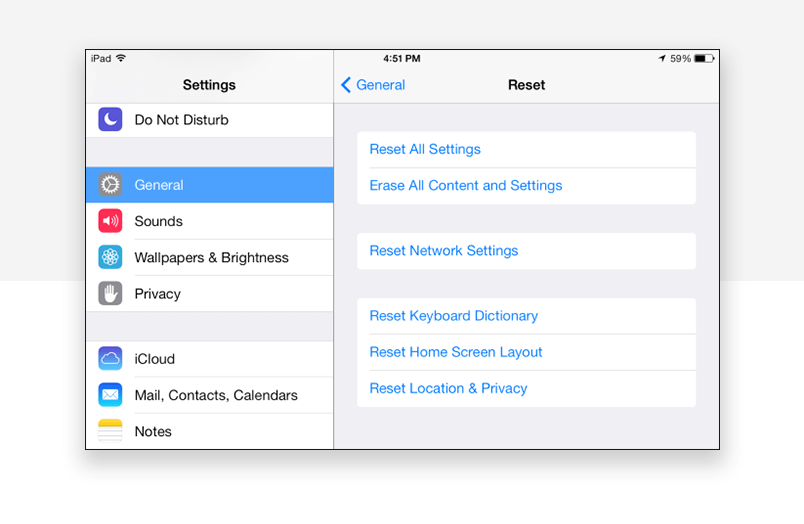Interaction design for default settings - apple example of resetting