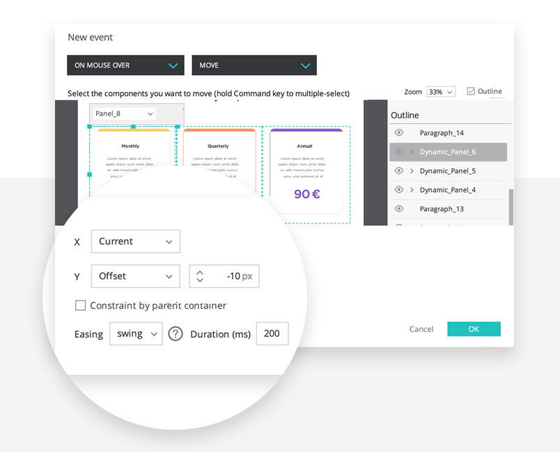 designing interaction for pricing section within landing page design on justinmind