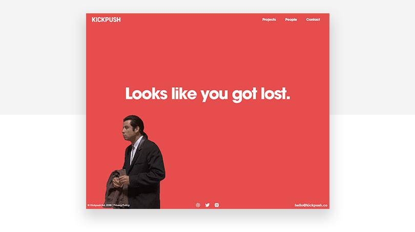 Kickpush 404 page design with humor