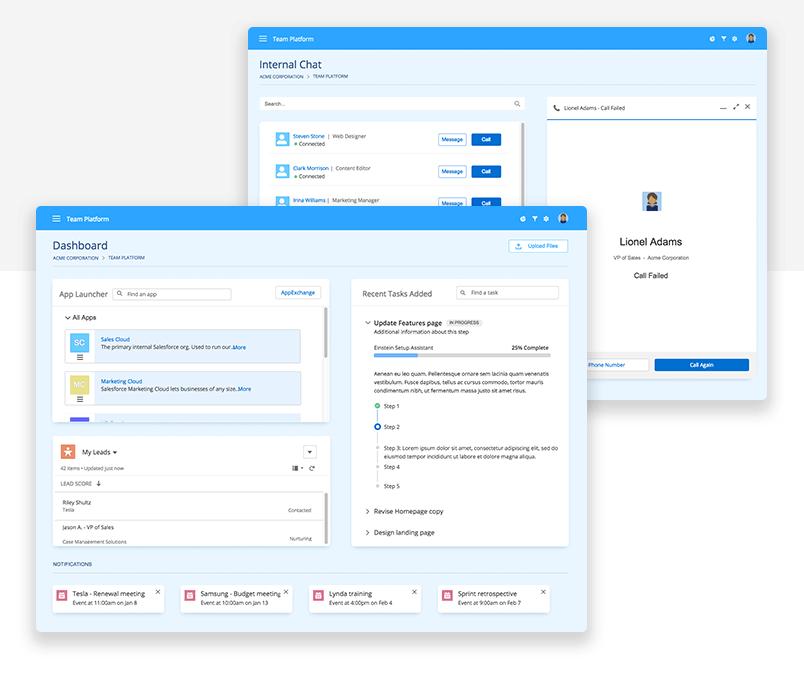 Lightning design system UI kit - Dashboard - Justinmind