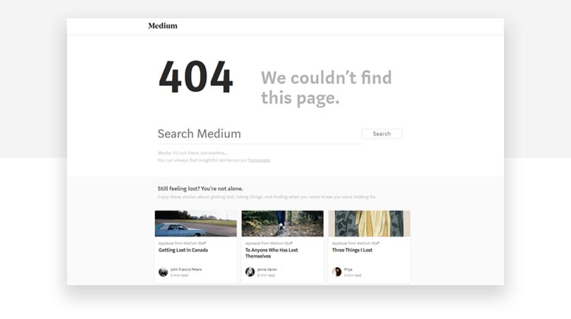 Medium 404 page design a good example