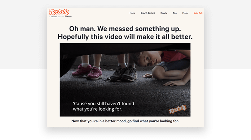 Nectafy 404 page - Justinmind