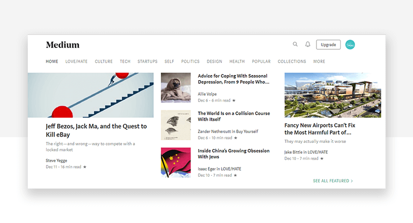 Good interface design can counter the effect of the paradox of choice - Medium homepage