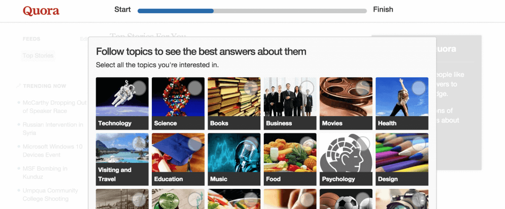 Quora example of great user onboarding experience design