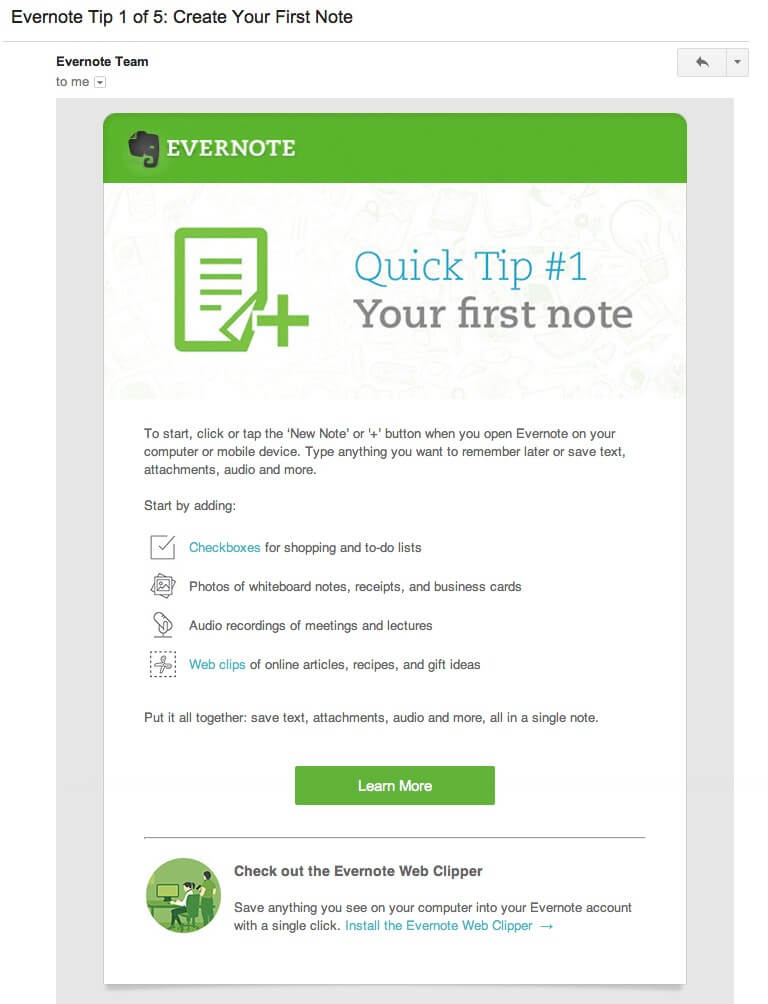 Follow up email on user onboarding experience - evernote example