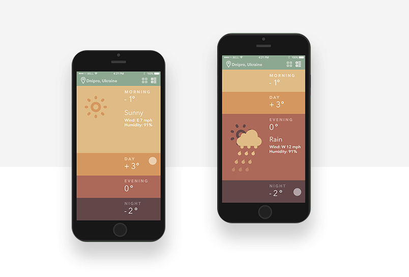 Weather app graphic backgrounds example of gradient colors