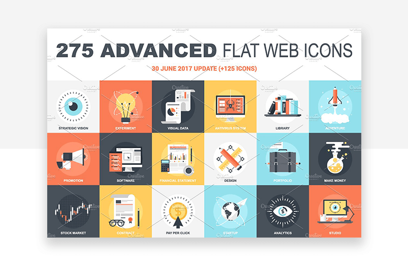 Flat website icons for human psychology and self improvement in color