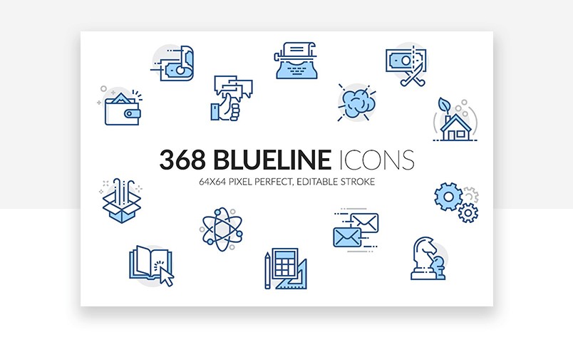 Blue line website icons for a great interface