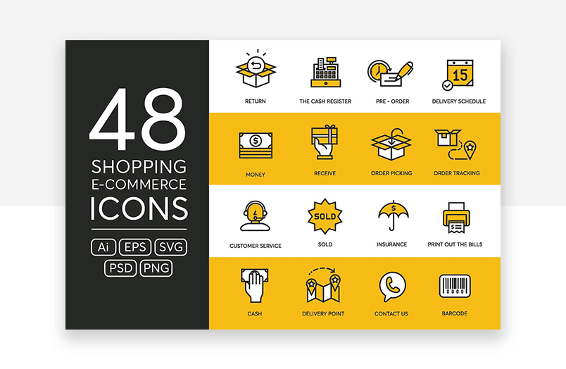 Colorful website icons for e-commerce and online shopping
