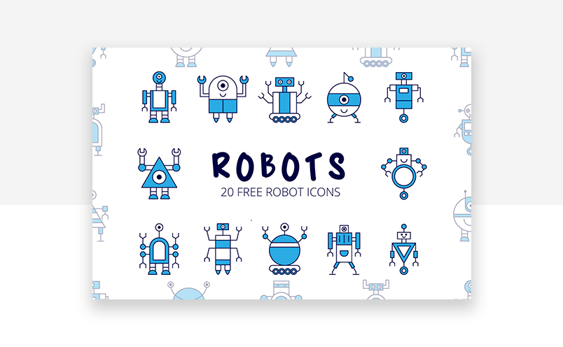 Colorful website icons for technology, robotics and AI UX designs