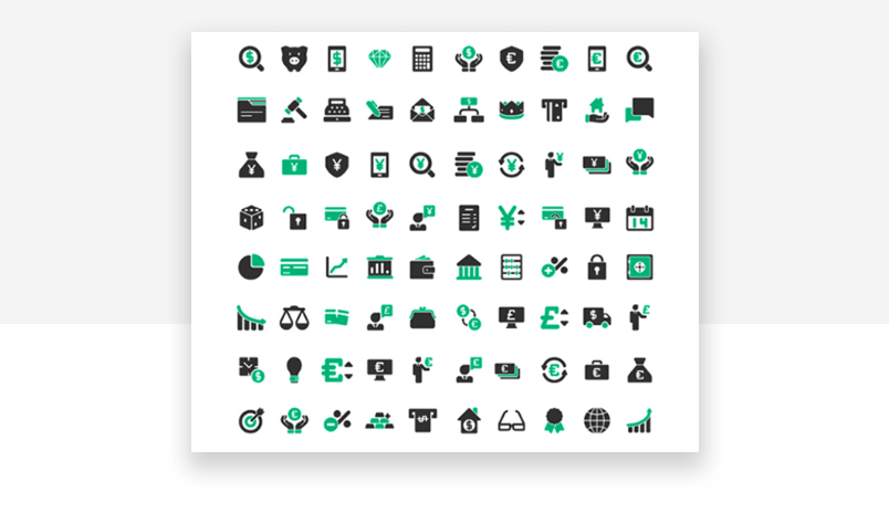 Website icons for financial UX design, from accounting to banking