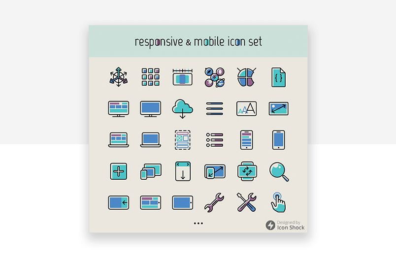 Free responsive and mobile theme - website icons from smashing magazine