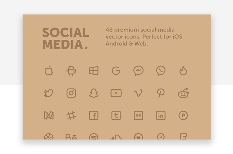 Social media - minimalist premium website icons