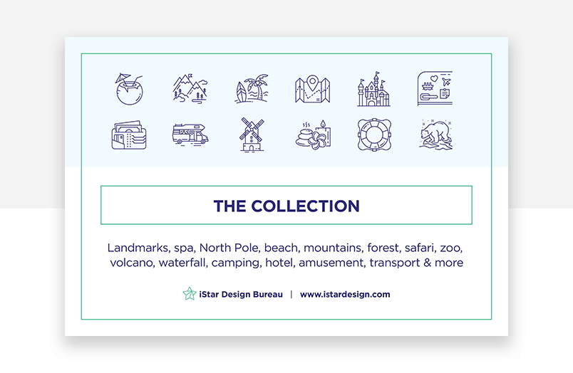 Blue website icons for tourism and travel products