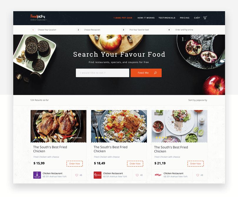 Foodpicky - responsive website mockup template - Justinmind