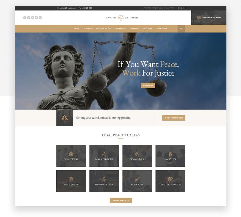 Lawyer Attorneys - responsive website mockup template - Justinmind