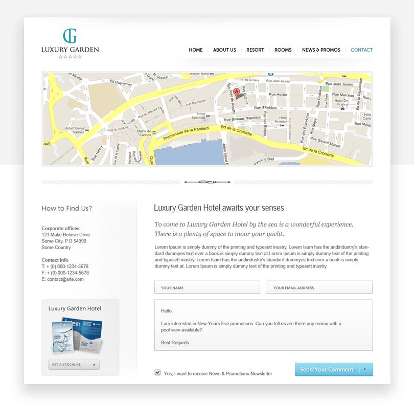 Luxury Garden - responsive website mockup template - Justinmind
