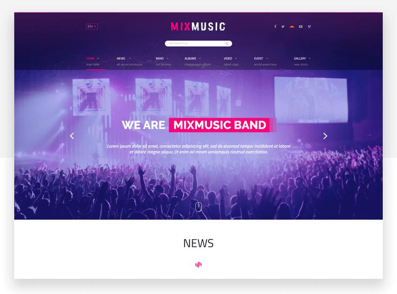 MixMusic - responsive website mockup template - Justinmind