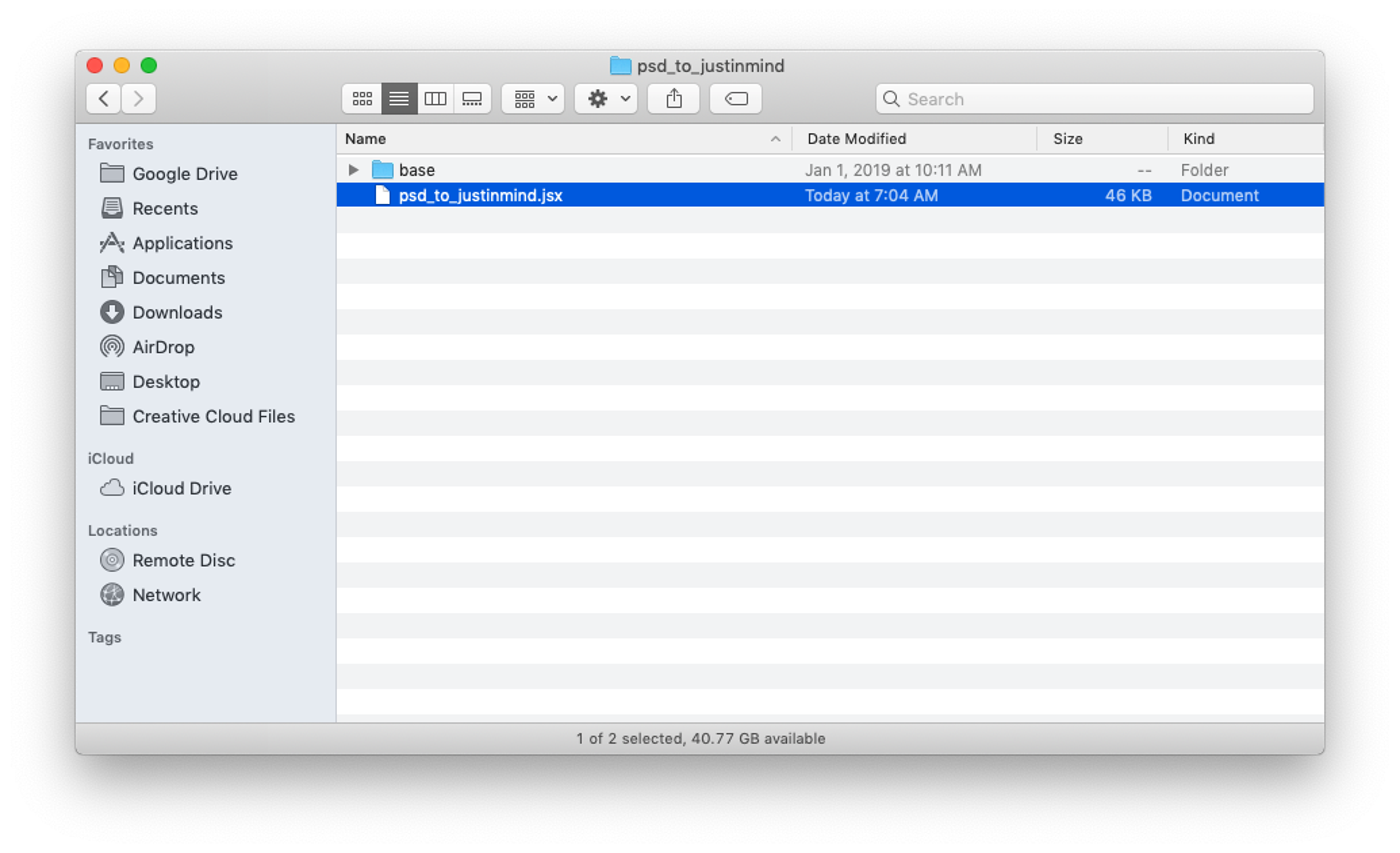 Photoshop plugin zip file contents