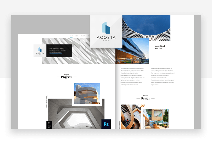 Architecture - free responsive website mockup template - Justinmind