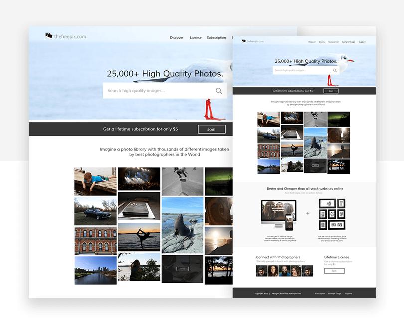 Photo Stock - free responsive website mockup template - Justinmind