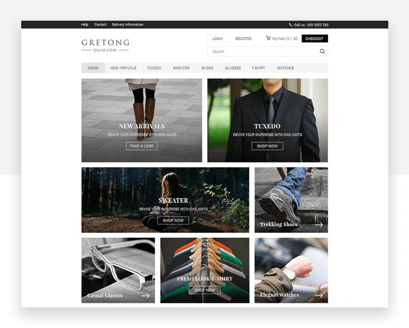 Gretong - free responsive website mockup template - Justinmind