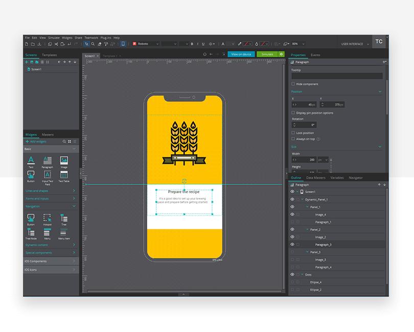 Adding content - mockup design - Justinmind