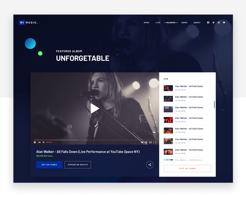 Music Website - free website mockup template - Justinmind
