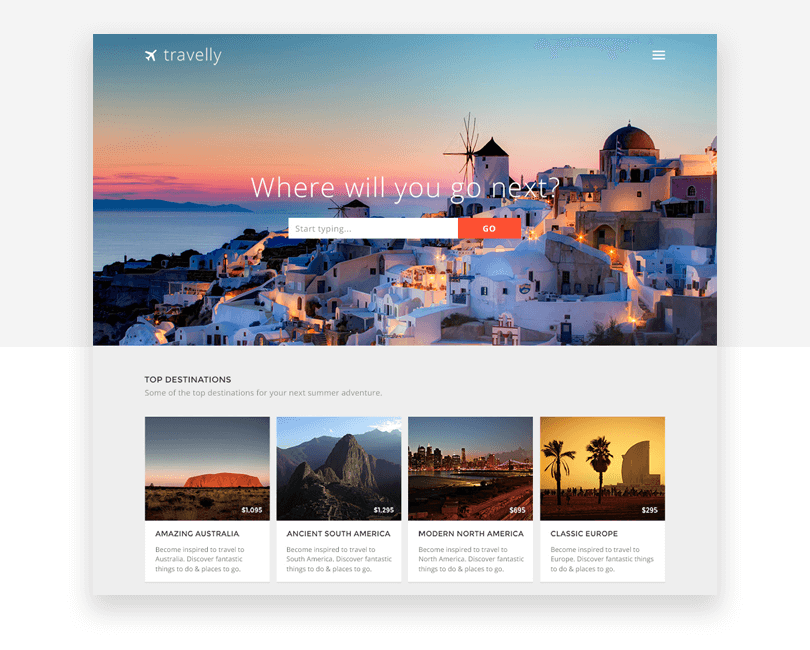 Travelly - free responsive website mockup template - Justinmind