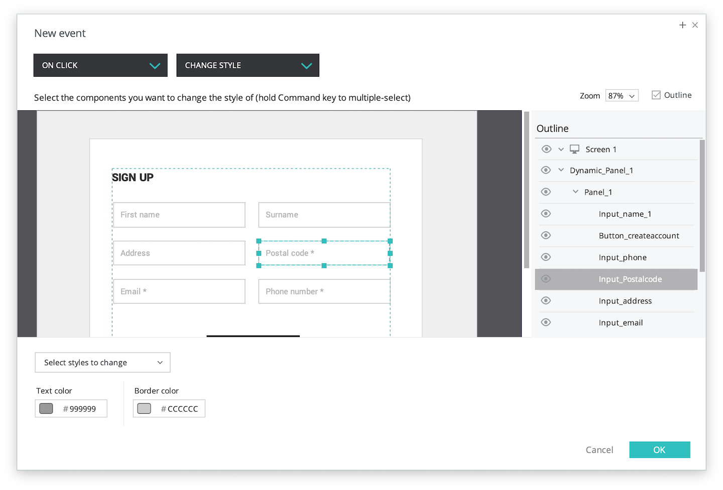 Change style for input field