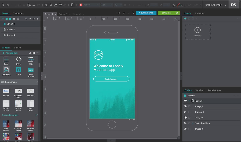 Add three screens on your prototype