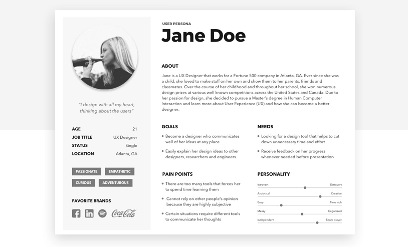 Quirky designs and fonts add a fun element to user personas - Justinmind