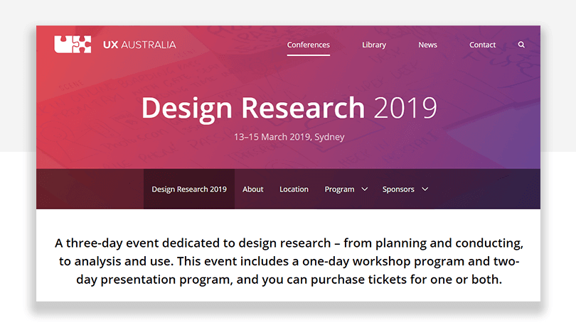 design research - ux conference in australia