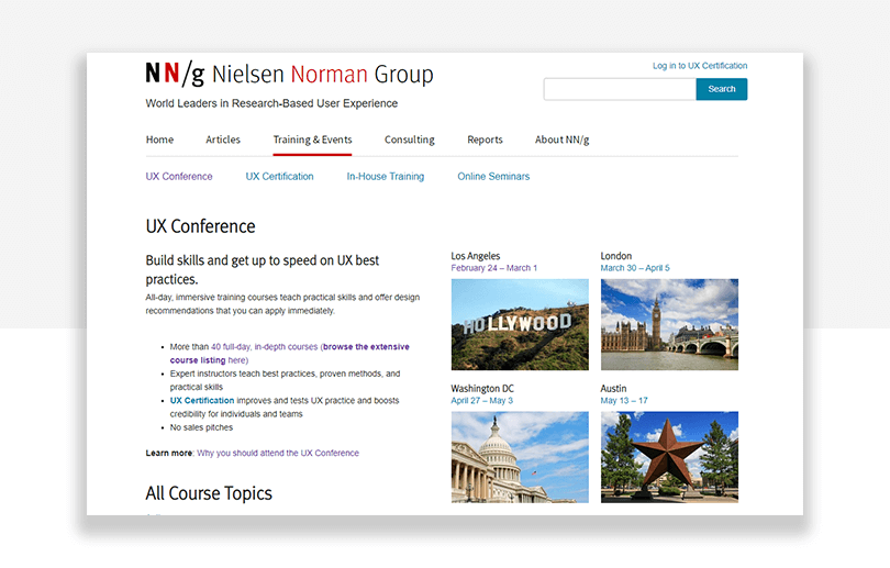 Norman nielsen UX conferences - washington, los angeles, austin