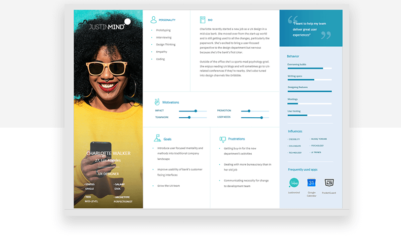 Template of perfect UX persona - Justinmind