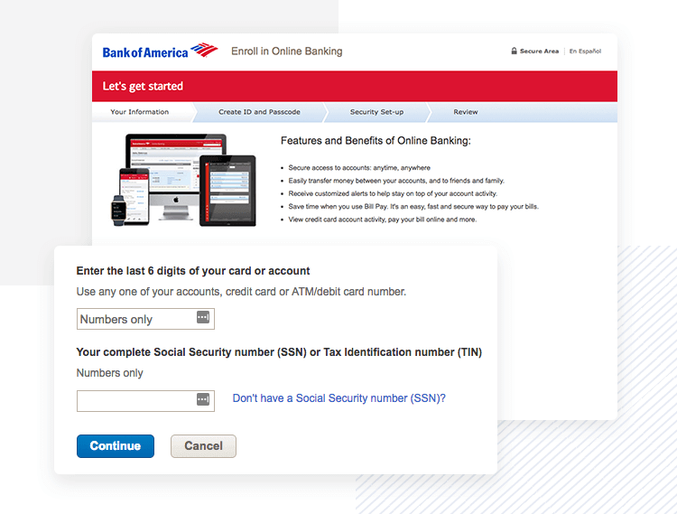 example of great enterprise ux payoff - bank of america online signup