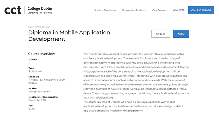 In-class app development course - CCT Dublin