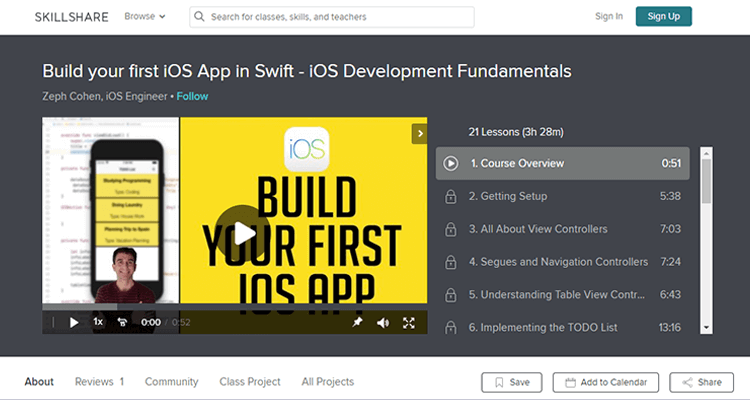 Online app development course - Skillshare