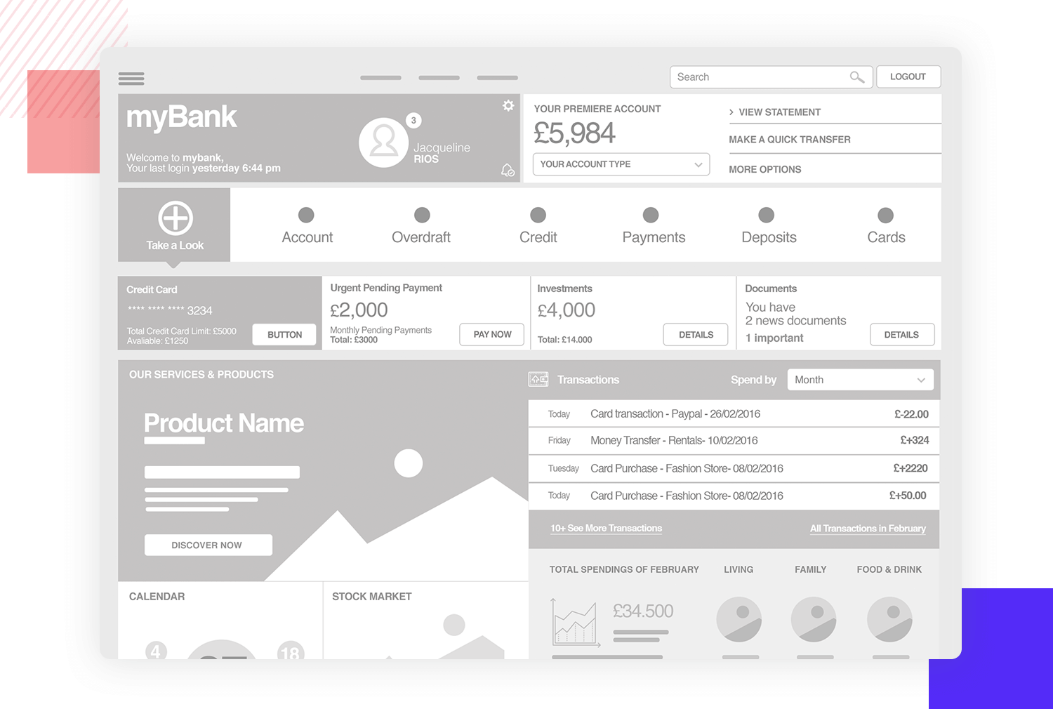 wireframe example for banking platforms or personal finance tools