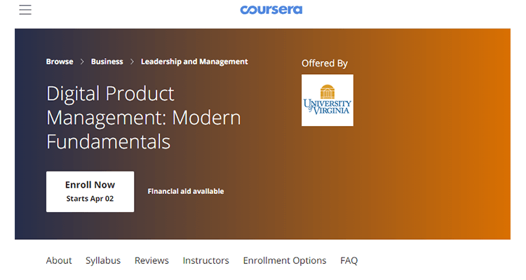 In-class product management course - Coursera, Online
