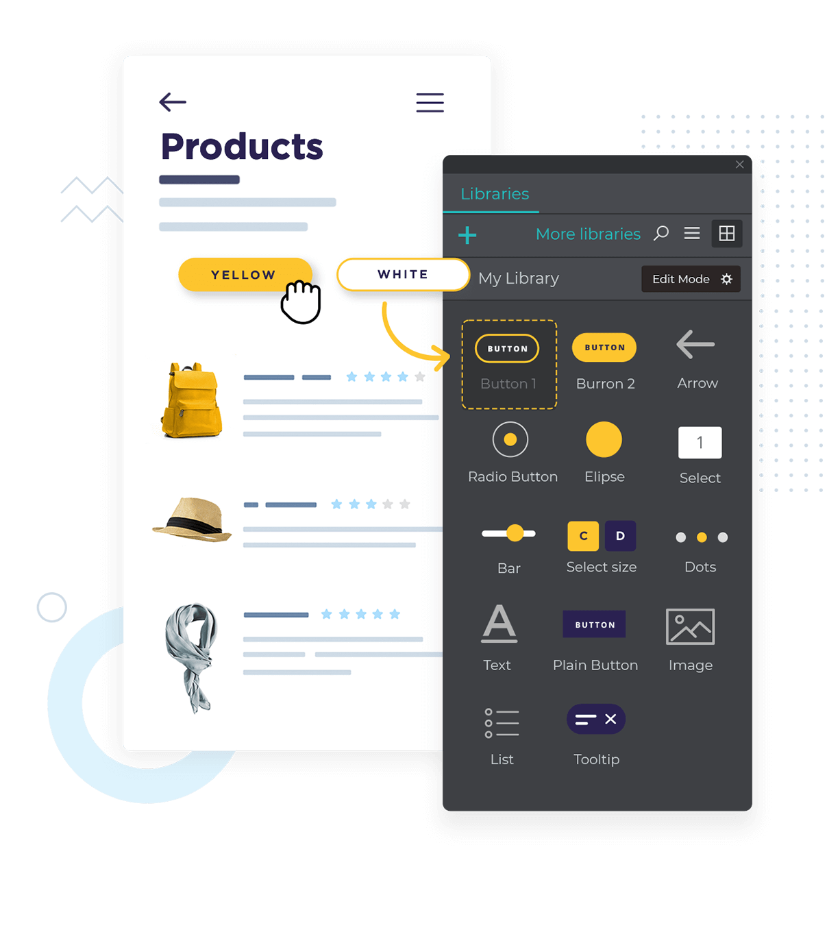 Create design systems with your own UI kits for prototypes and wireframes