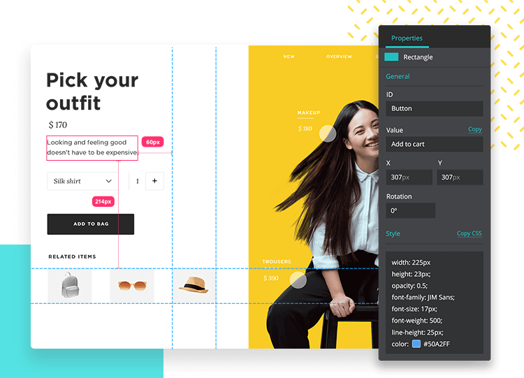 style definition with design system in justinmind