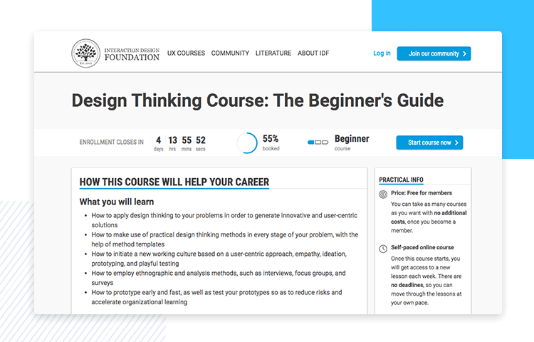 IDF´s design thinking course details