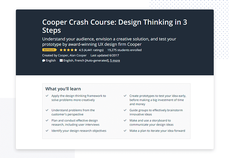 cooper design thinking crash course online