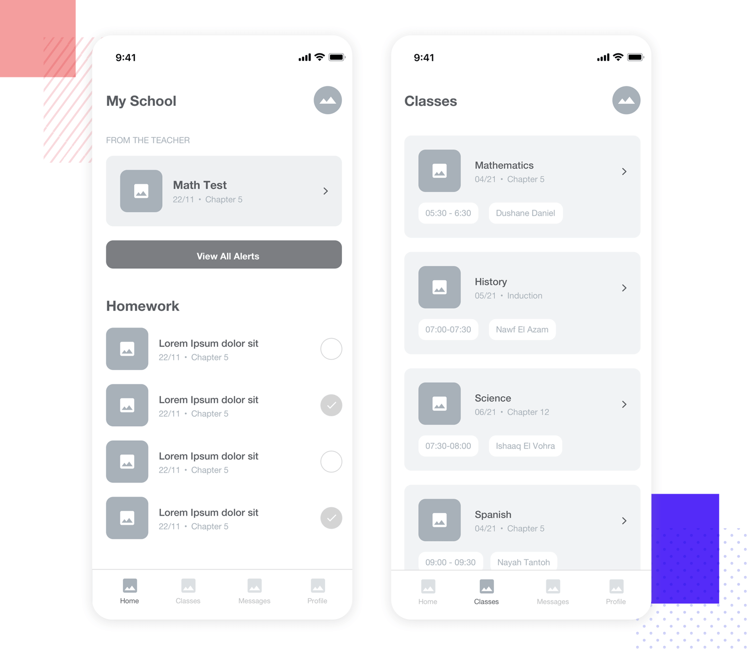 education and school work mobile app wireframe example