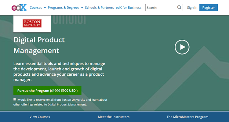 In-class product management course - edX, online