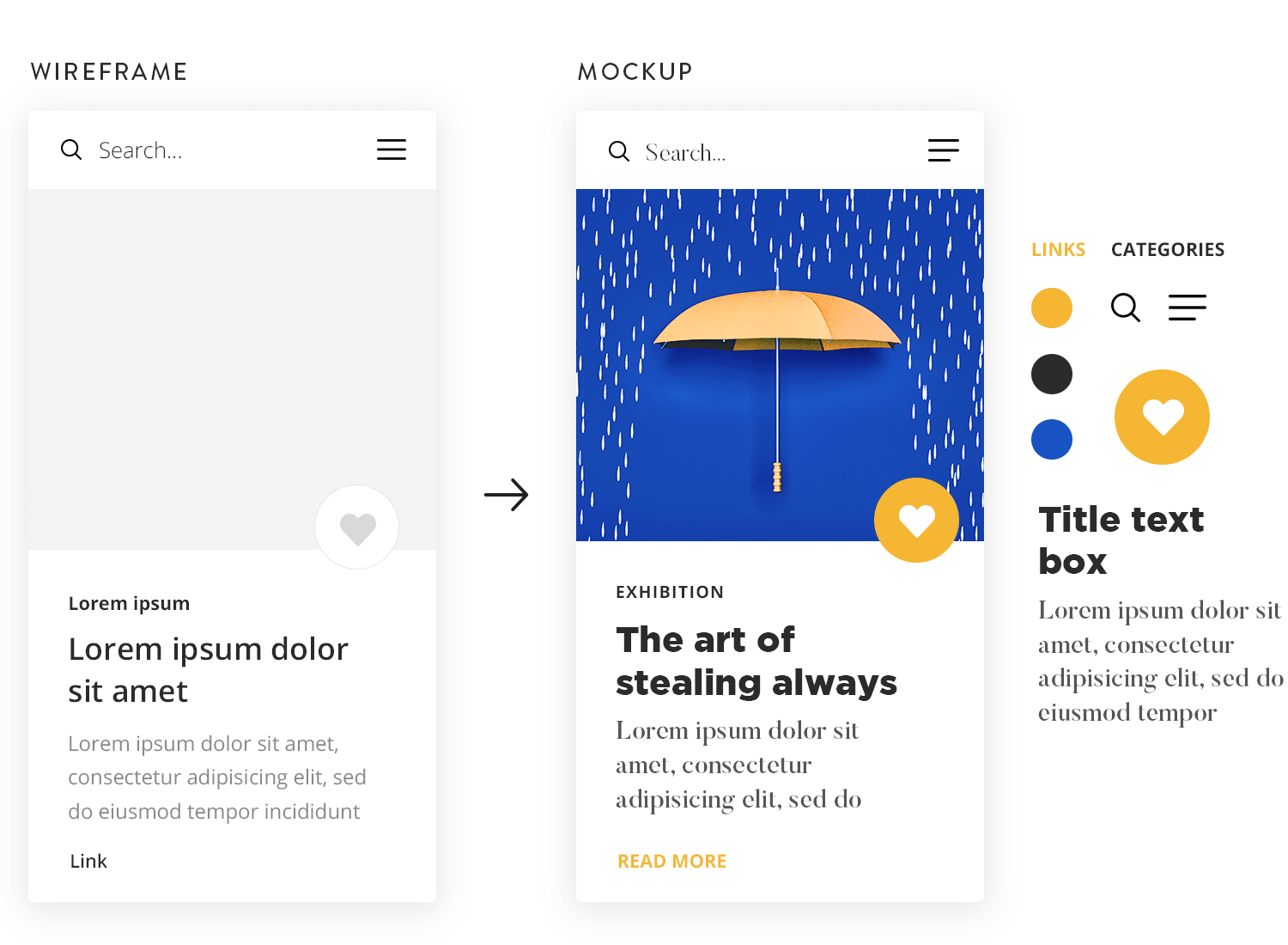 comparison of low and high fidelity mockups with UI kit library