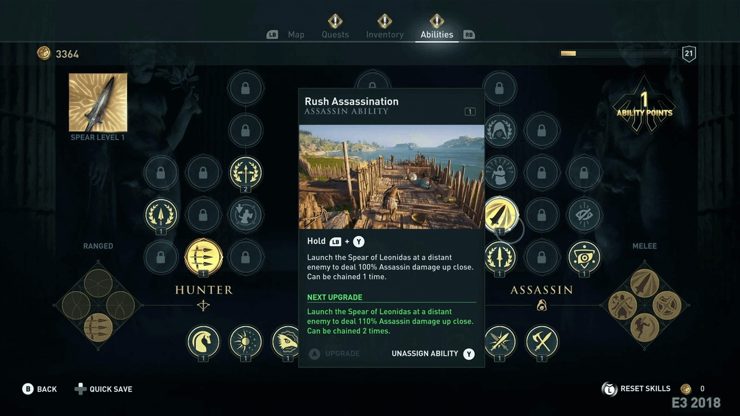 Screenshot of video game as information architecture example. Assassins creed.