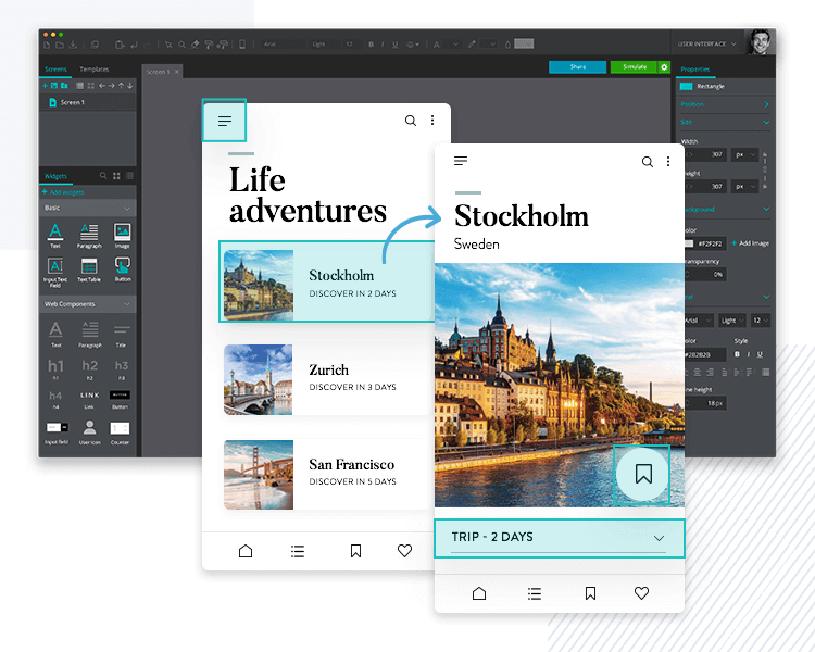 Add gestures to make your PSD mockups interactive
